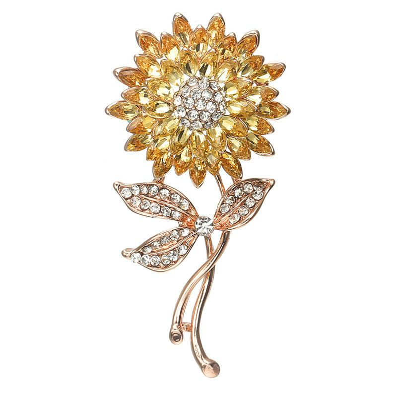 Gold and Silver Tone Clear Rhinestone Crystal Sunflower Brooch Diamante Round Star and Sun Flower Bridal Pin Brooch 24PCS