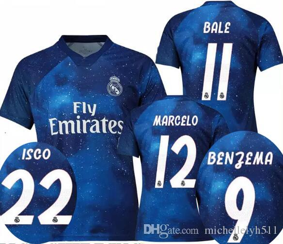 de349756b35 18 19 Real Madrid EA sports digital special version blue soccer jerseys  BALE ISCO BENZEMA 2018 player s football tops adult s sports jerseys