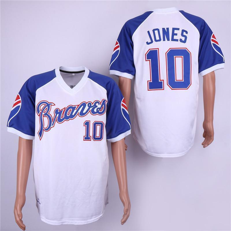 new product 42083 19507 Chipper Jones jerseys Atlanta Retro Braves Hank Aaron Dale Murphy Stitched  Throwback Baseball Player Jerseys