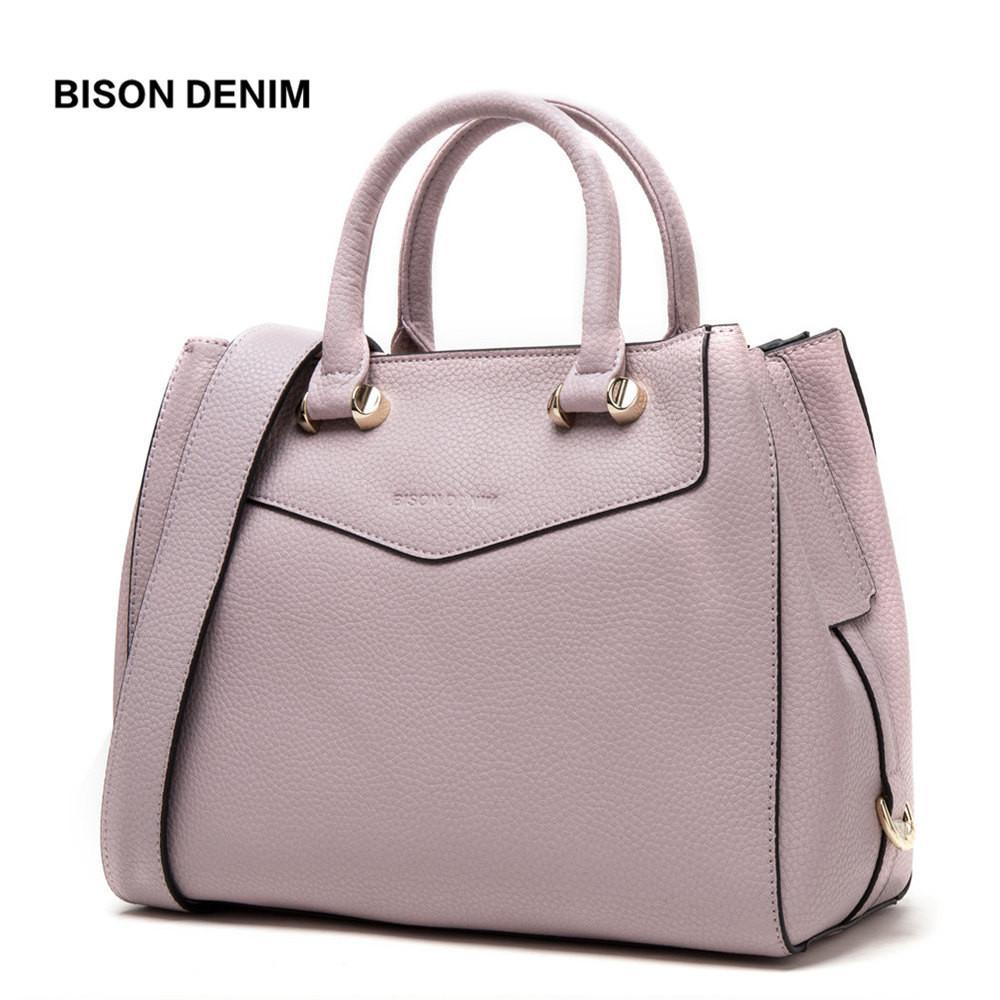a6f416561d Acquista 2019 Moda BISON DENIM Borse Di Lusso Borse Donna Designer In Vera  Pelle Femminile Borse A Tracolla Grande Vacchetta Tote Bags Le Donne N1362  A ...
