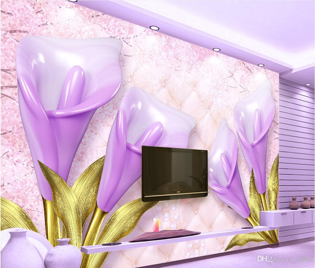 WDBH 3d wallpaper custom photo Purple calla flower embossed soft background living room home decor 3d wall murals wallpaper for walls 3 d
