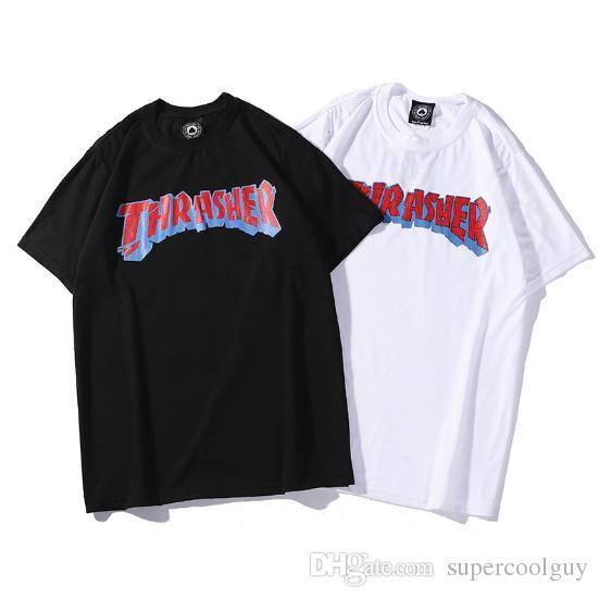 04778bf4a 2019 THRASHER New Flame Spiderman Printing T Shirt Summer Street Fashion  Brand Men Women Short Tee Teenager Hip Skateboard T Shirts Funny T Shirt  Awesome T ...