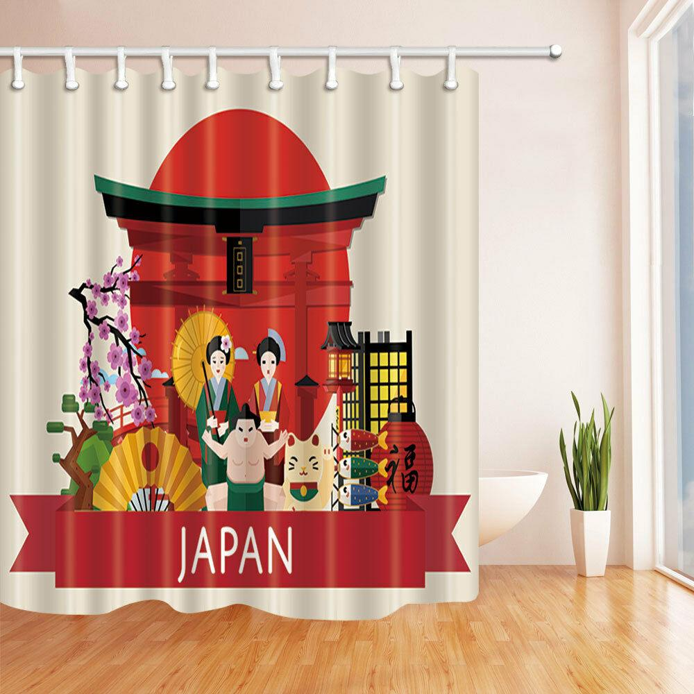 Japanese family new year bathroom shower curtain Durable Fabric Mildew Bathroom Accessories Creative with 12 Hooks 180X180CM