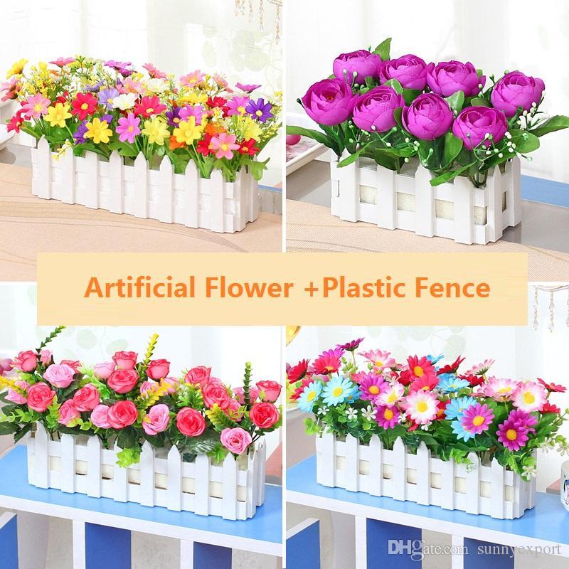 2019 Silk Flower Plastic Flower Arrangement Dry Bouquet Fence Fake