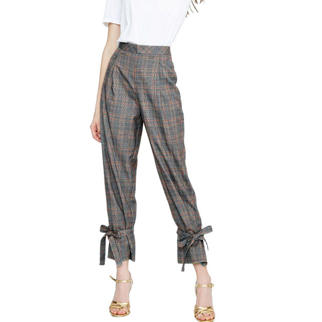 ddabc5c4fa9a 2019 moda pantalones mujer Casual Plaid impresión pantalones pantalones  para mujer damas sueltas tallas grandes pantalon mujer
