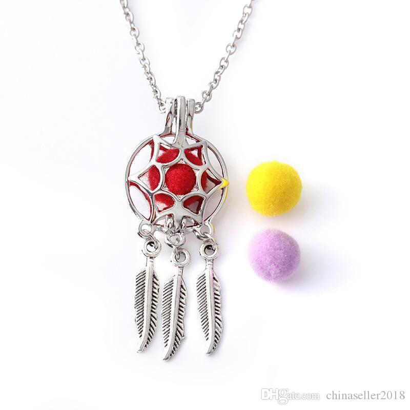 Color Silver Aromatherapy Necklaces elegant Essential Oils Diffuser Locket Perfume Pendant Leaf Tassel Necklace