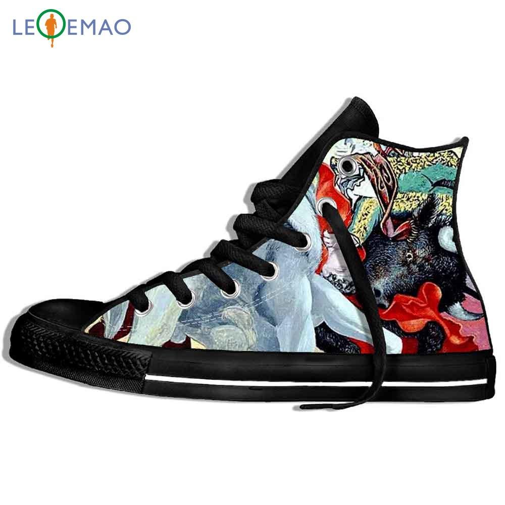 Walking Canvas Boots Shoes Breathable Newest Men Painting Print Pablo Picasso Master Outdoor Sport Shoes Classic Sneakers