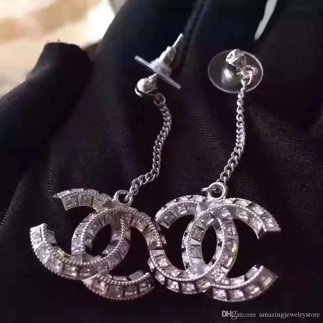 Hot sale top Quality Luxury diamond Drop Earrings with diamonds Fashion metal Letter brand name earrings in S925 silver needle With Box PS6