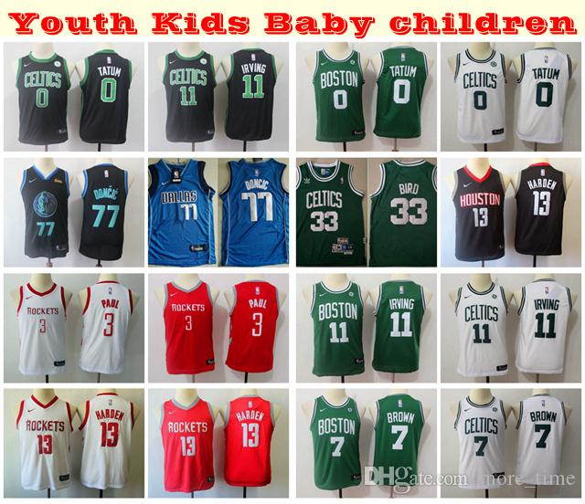 sale retailer b956d 83b6f 2019 Kids Youth Boys Swingman Jersey 33 Larry Bird Kyrie Irving Jayson  Tatum Jaylen Brown Luka Doncic Chris Paul James Harden Child Jersey