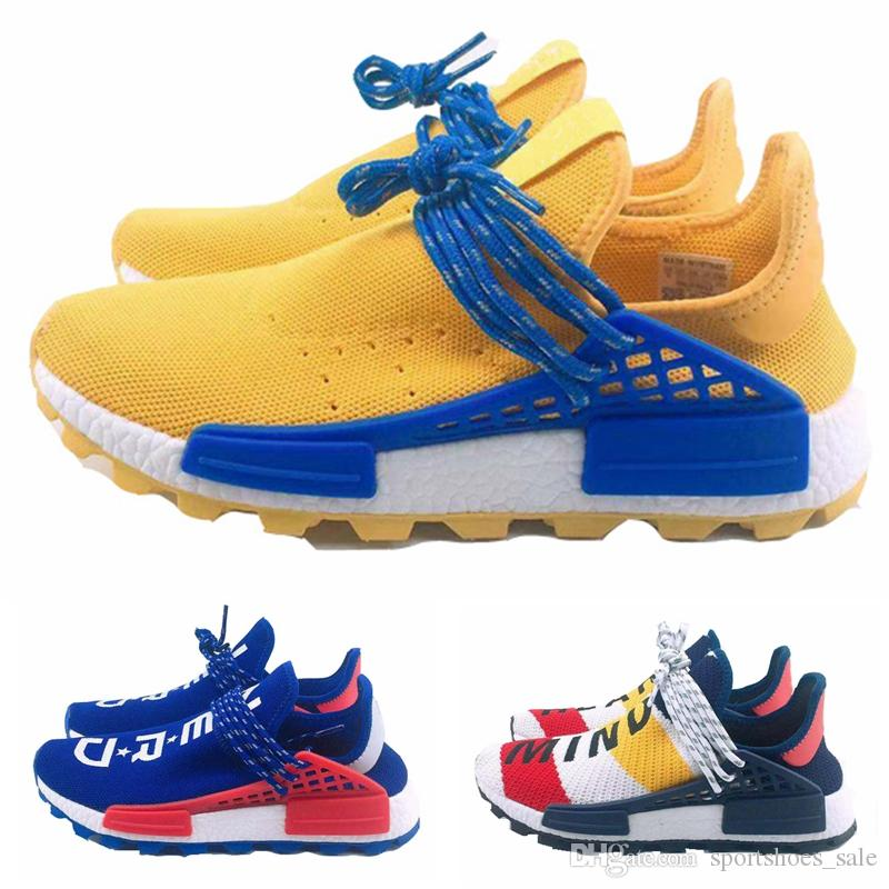 ba3fc2afc4752 2019 Pharrell Williams NMD Human Race Yellow Blue Nerd Heart Mind Mens  Designer Sneakers Womens Luxury Running Shoes Size 36 45 Free Shoes  Discount Running ...
