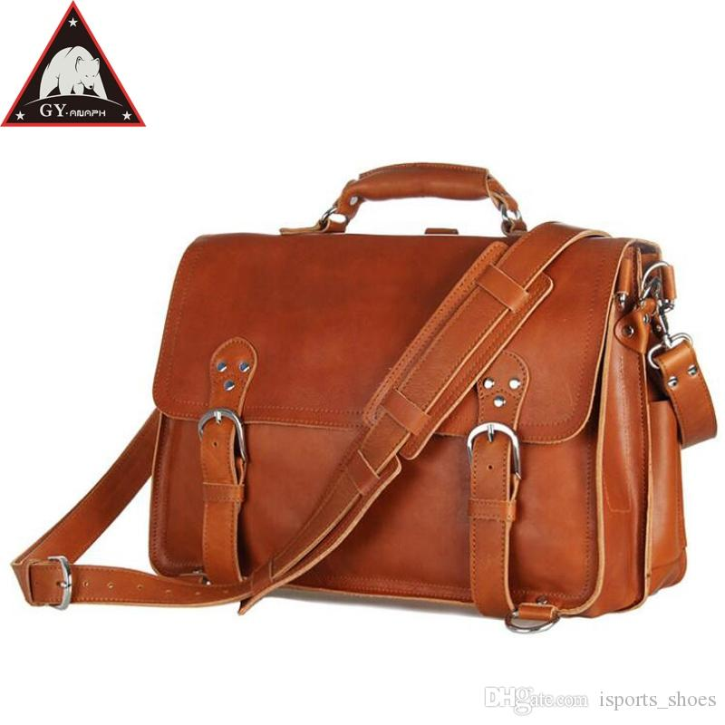 d6e2c286f658 ANAPH Man Work Bag, Thick Leather Office Executive Briefcases For Men,  Vintage Classic Lock Tote Bags Fit 15.6 Inch Laptop Brown #110586