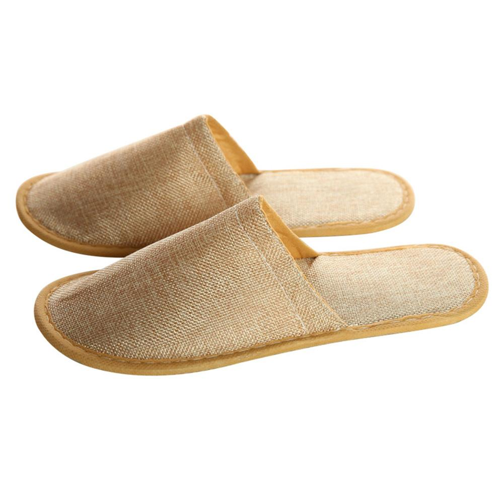5 Pairs Man Women Anti Slip Travel Hotel Slippers Disposable Gift Linen Comfortable Adults Homestay Soft Spa Home Guest Casual