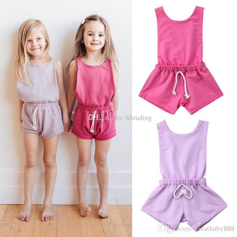ab4794f4 Ropa de diseño para niños niñas correa mameluco niños sin mangas cortos  Monos 2019 moda de verano Boutique bebé Ropa C6506