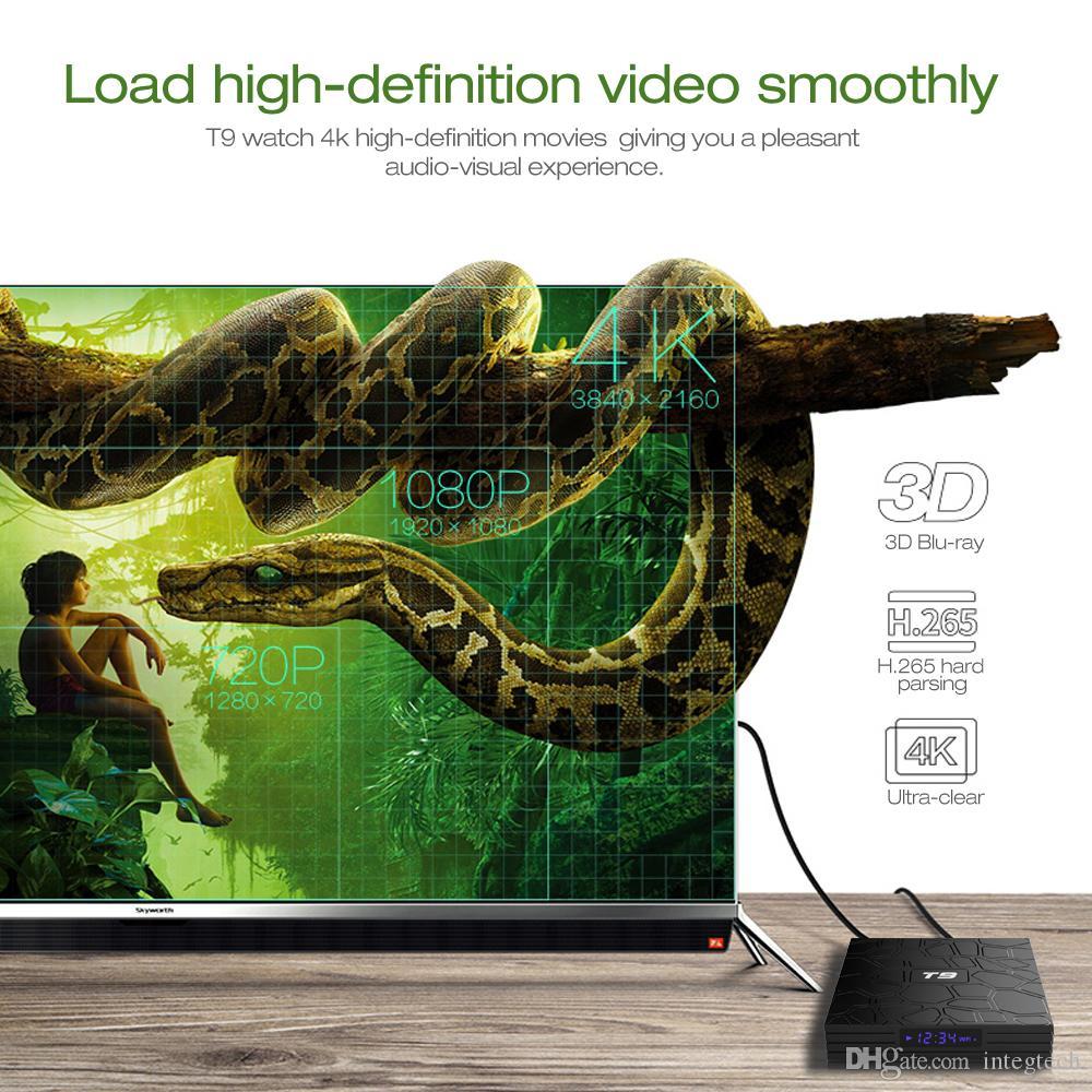 T9 Android 9.0 TV Box Rockchip RK3318 2.4G dual Wifi 5G Bluetooth4.Top Box de 2 GB 16 GB