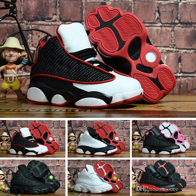 separation shoes c9d6c ff4a6 Großhandel Nike Air Jordan 13 Retro Neue 13 XIII Kinder Basketball Schuhe  Kinder Schwarz Rosa Weiß Sportschuhe Heißer Verkauf Jugend Jungen Mädchen 13  S ...