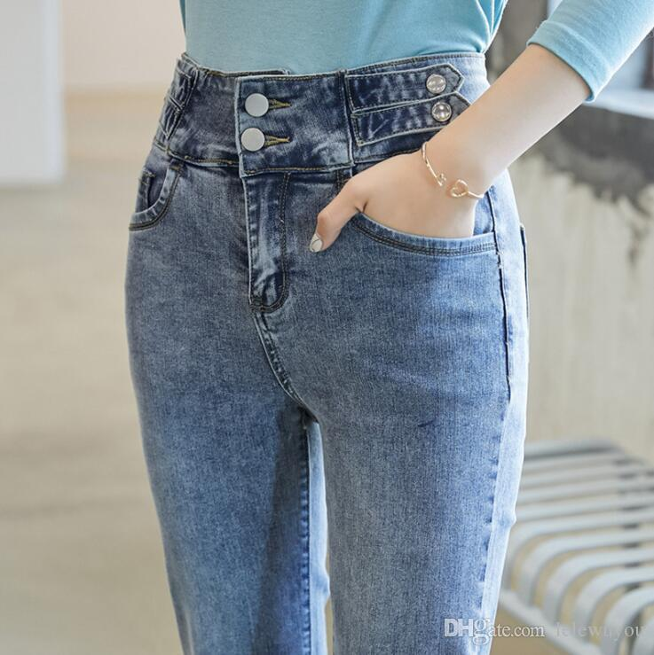 159 * 2020 popular pipe pants high waisted Retro Blue washed jeans women's straight pants elastic slim 9 points