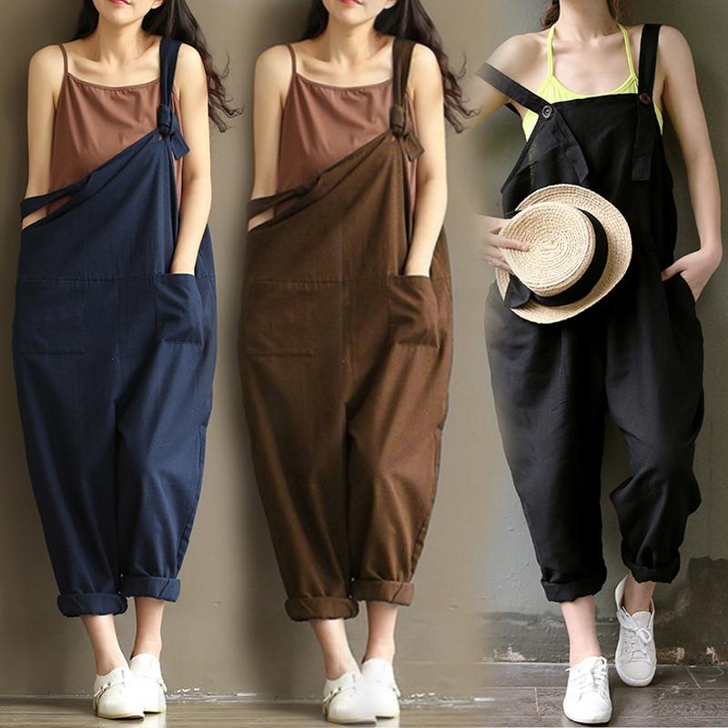 a1ca8b452236 Jumpsuits For Women Strap Dungaree Jumpsuits Overalls Long Harem Pants  Trousers UK 2019 From Andrewapparel