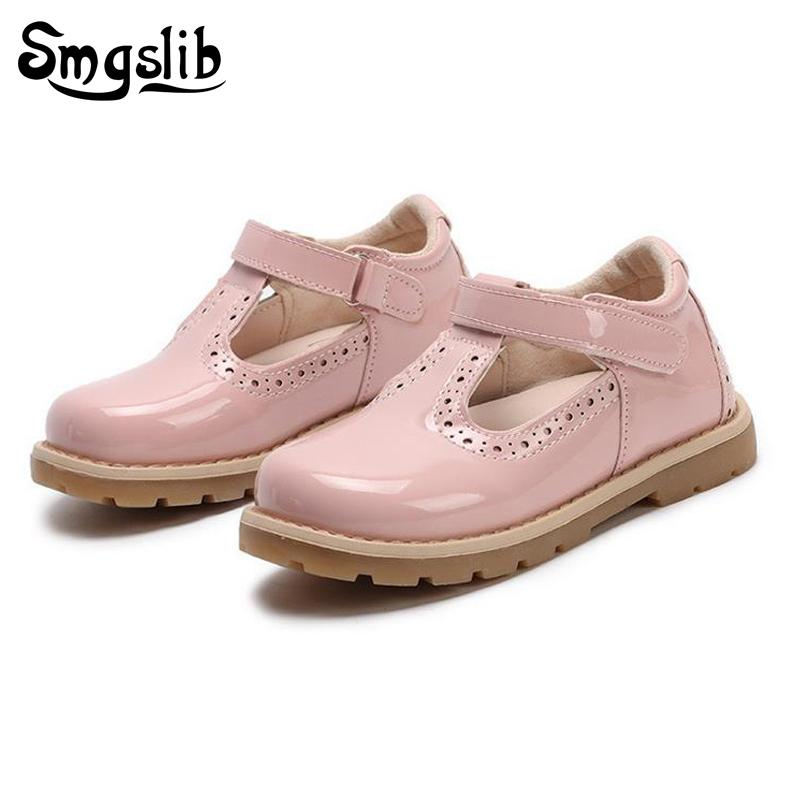 dca3b7659d Compre Zapatos Para Niños Princesa Girls School Shoes Red Pink Black Niños  Vestido De Fiesta De Cuero Planos Zapatos Para Niñas Pequeñas Zapatillas De  ...
