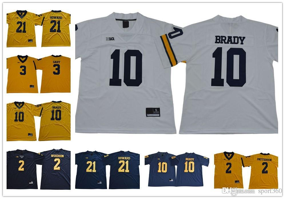 uk availability 9e635 9a586 NCAA Michigan Wolverines #10 Tom Brady Jersey Hot Sale #2 Charles Woodson  Navy Blue White Yellow Stitched College Football Jerseys S-3XL