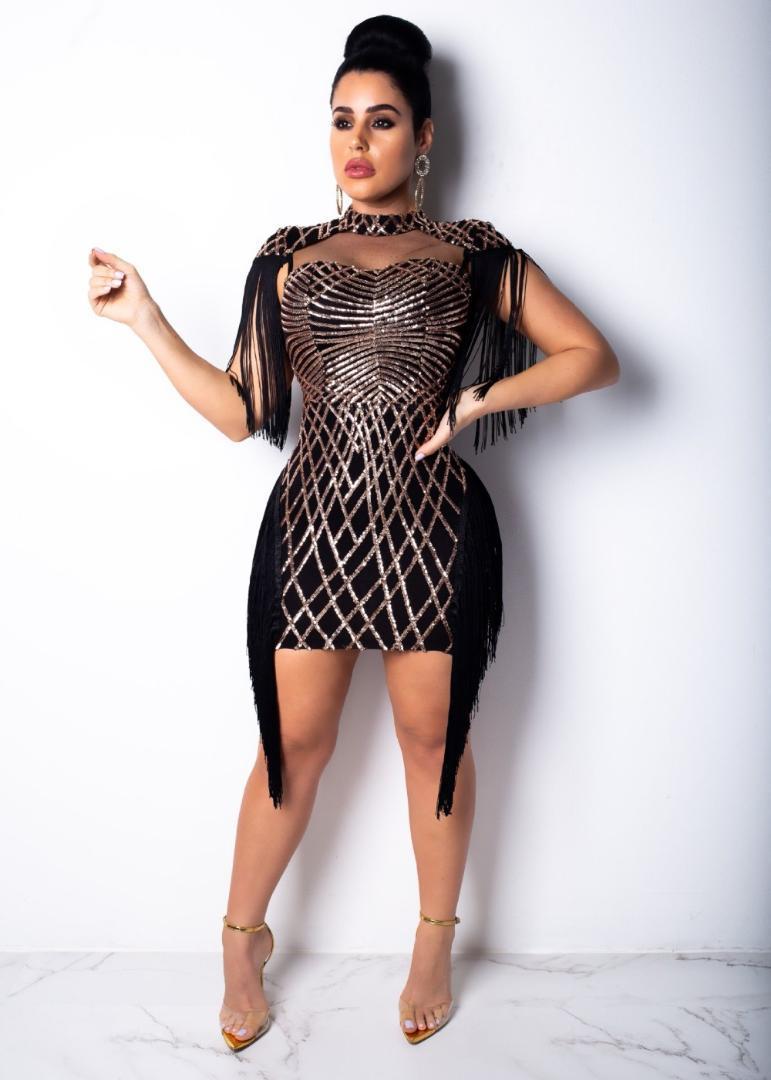 80a45ef85cfd Acquista Vestito Da Donna Con Paillettes Geometriche E Nappine In Maglia  Mini Abito Aderente Eleagnt Abito Da Party Con Maniche E Tubino Femme  Vintage ...
