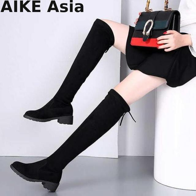 e195066241bf Size 34 41 Winter Over The Knee Boots Women Stretch Fabric Women Thigh High  Sexy Lace Up Woman Flat Shoes Long Bota Feminina 660 Football Boots Womens  Boots ...