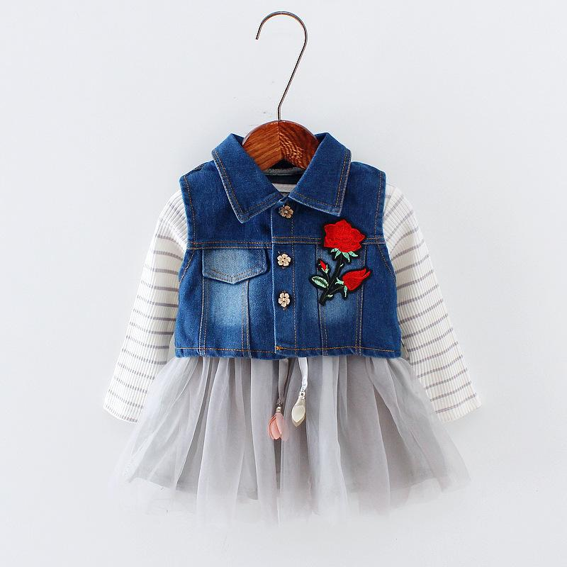 Good Quality Baby Girls Clothing Sets Spring Autumn Casual Denim Waistcoats Dress Costume Infant Sports Outfits Fashion Party Suits