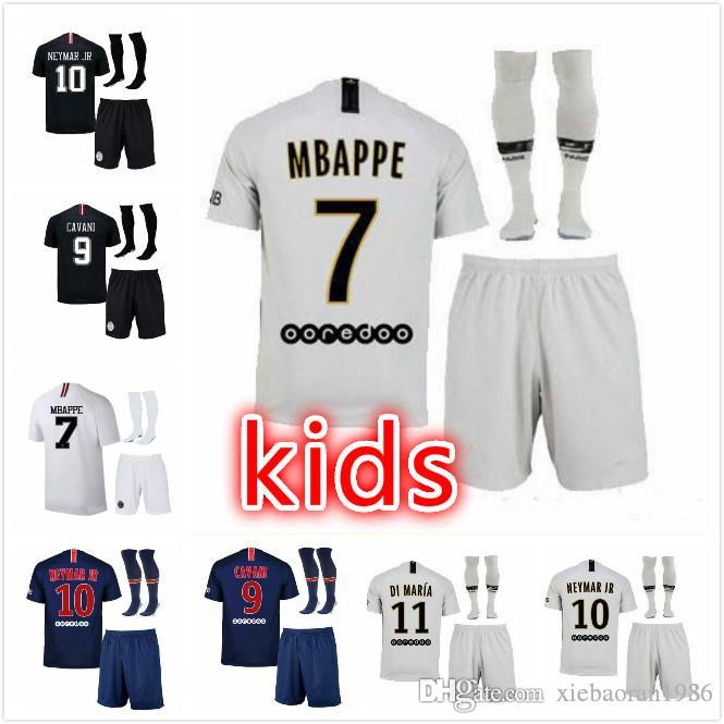 online store 1734e 08786 Champion League Pariser Fußball-Trikot Kinder-Trikot Shorts 18 19 CAVANI  home blue Trikots # 29 MBAPPE PSG Kinder-Fußballtrikots