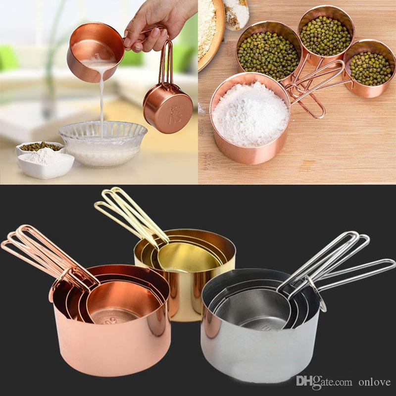 Copper Stainless Steel Measuring Cups 4 Pieces Set Kitchen Tools Making Cakes and Baking Gauges Measuring Tools XD20618