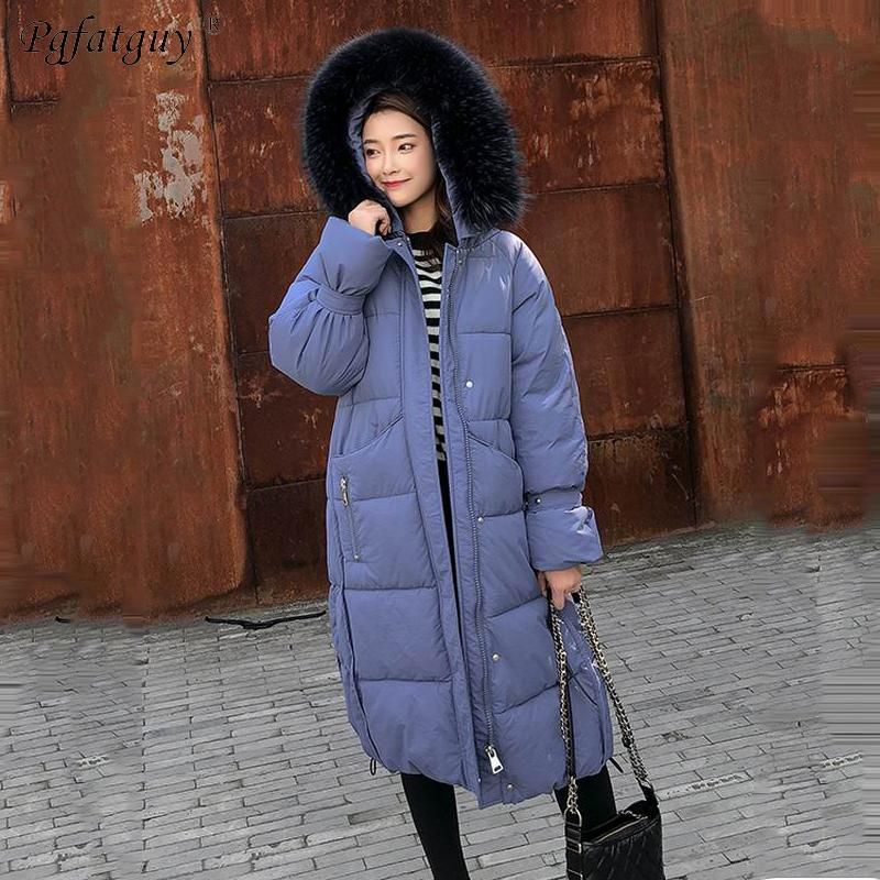 ff2b66d93 Big Fur Hooded Chains Patchwork Parkas Long Coats Cotton Padded ...