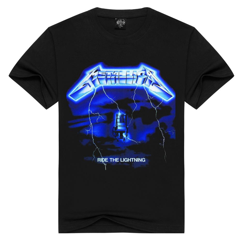 Men/Women Rock band Metallica t shirt ride the lightning tshirts Summer Tops Tees T-shirt Men Thrash Metal t-shirts Plus Size
