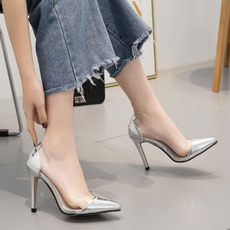 51b41641546 Dress 2019 Pu Pumps Contracted Silver Serpentine Slip-on Shallow Pointed  Toe Transparent Thin High Heel Size 35-40 Women Shoes