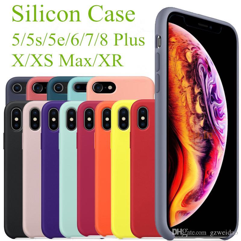 e2b7ed28a5c Todo Fundas Fundas De Silicona De Calidad De Marca Para IPhone X Xs Max XR  6 7 8 Más Cubierta De Armadura De Silicona Líquida Con Paquete Al Por Menor  ...
