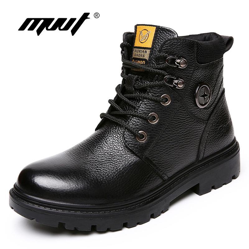 583de816580 Compre Mvvt Botas De Cuero Genuino Para Hombre Botas De Invierno Seguridad  En El Trabajo Libros De Nieve Para Hombres Botas Militares Hombre Zapatos  De ...
