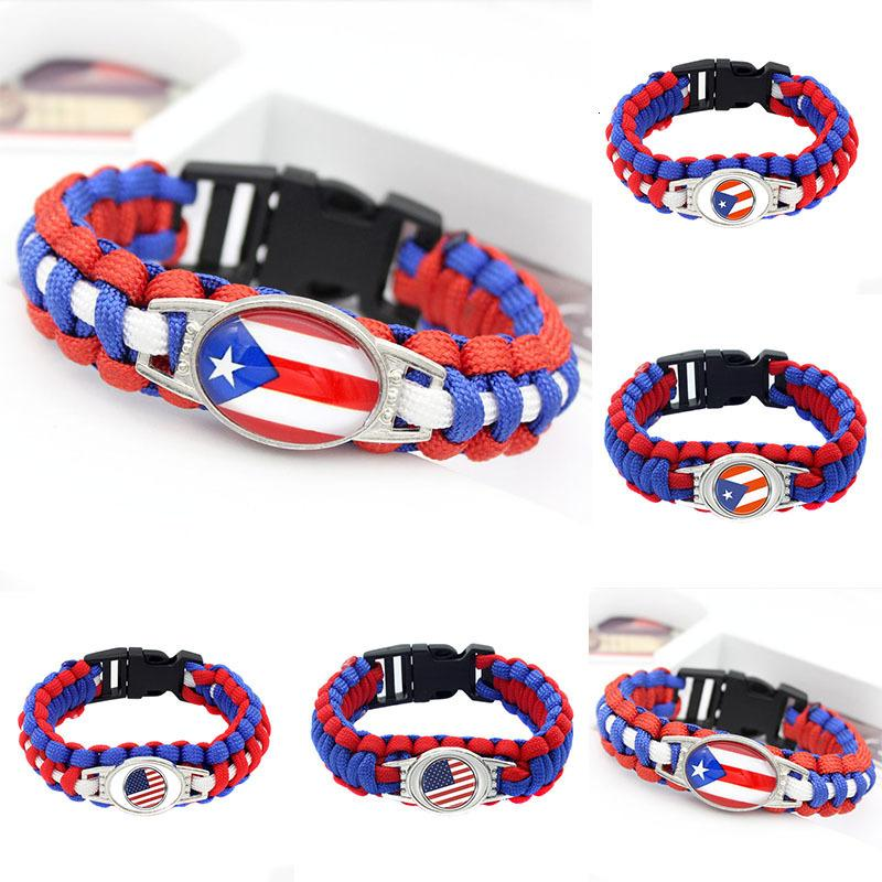 20pc American Flag Of Puerto Rico Paracord Survival Outdoor Camping Bracelets For Women Men Friendship Rope Red Bracelet Jewelry