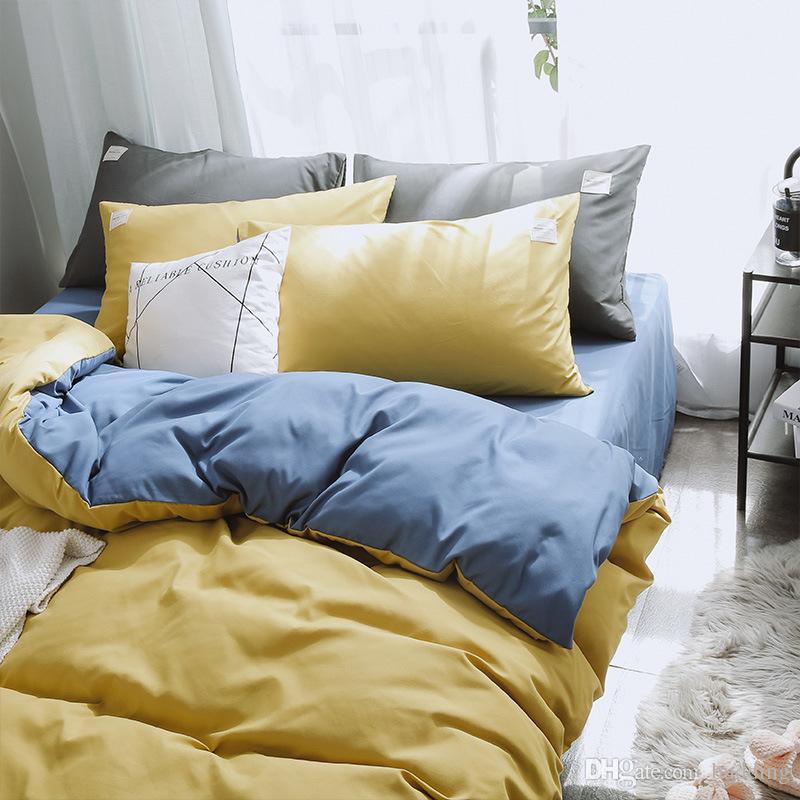 Großhandel Bettwäsche Sets Einfache Wäsche Baumwolle Vierteilige