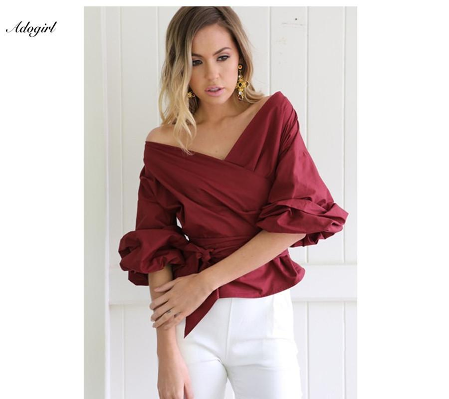 c4193a188340 2019 Adogirl Women Casual Blouse Off Shoulder Plaid Shirt Top Female Blusas  Bow Tie Ruched Sleeve Wrap White Blouse Shirt C19041601 From Shen8407, ...