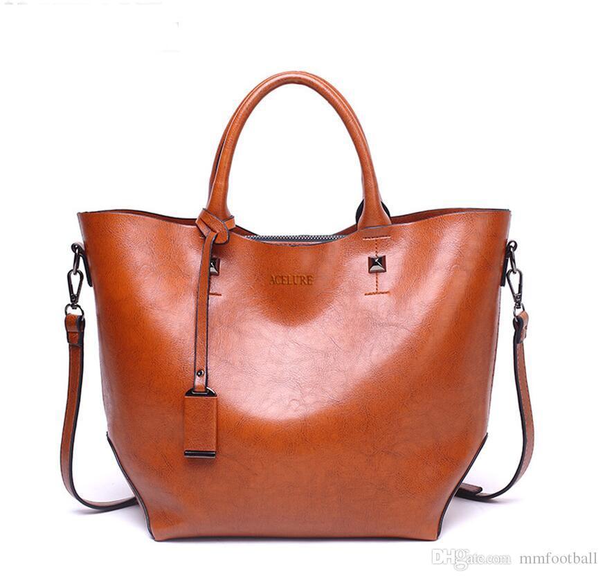 bea250036d6 Women Bucket Bag Oil Wax Women Leather Handbags Big Tote Famous Brands High  Capacity Female Shoulder Bag Crossbody Bag Totes Handbags Bags Online with  ...