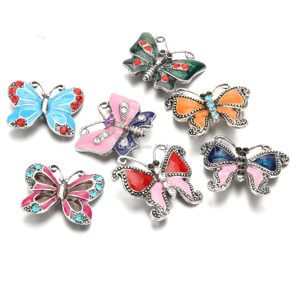 2019 NOOSA Snap Rhinestone Snap Buttons Oil Painting Butterfly 18mm snap button DIY bracelet Necklace Jewelry Gift