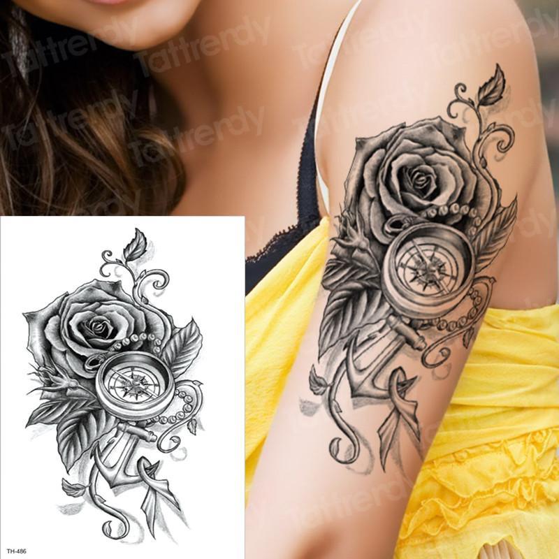 Temporary Tattoo Rose Compass Temporary Sleeve Tattoos Arm Black ...