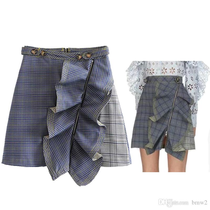 b1a9faf9b8 2019 Vintage Plaid Ruffles Mini Skirt 2019 Summer Spliced A Line Skirt  Front Zipper High Waist Faldas Mujer Moda 2019 From Bmw2, $26.14 |  DHgate.Com