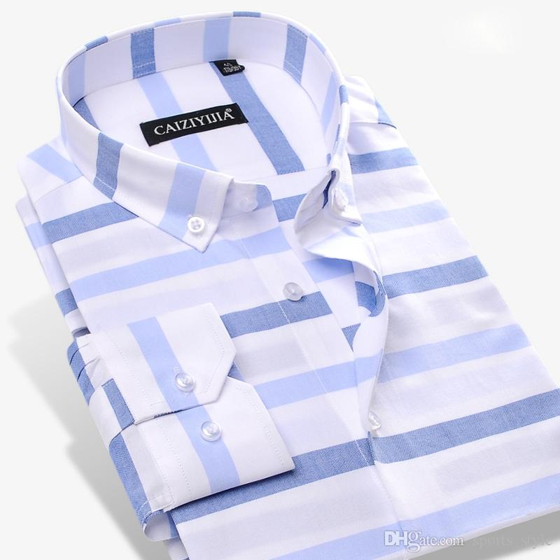 cheap price huge range of 60% discount Men's Contrast Wide Horizontal Striped Dress Shirt Comfort Soft 100% Pure  Cotton Casual Slim-fit Long Sleeved Button-down Shirts #389518