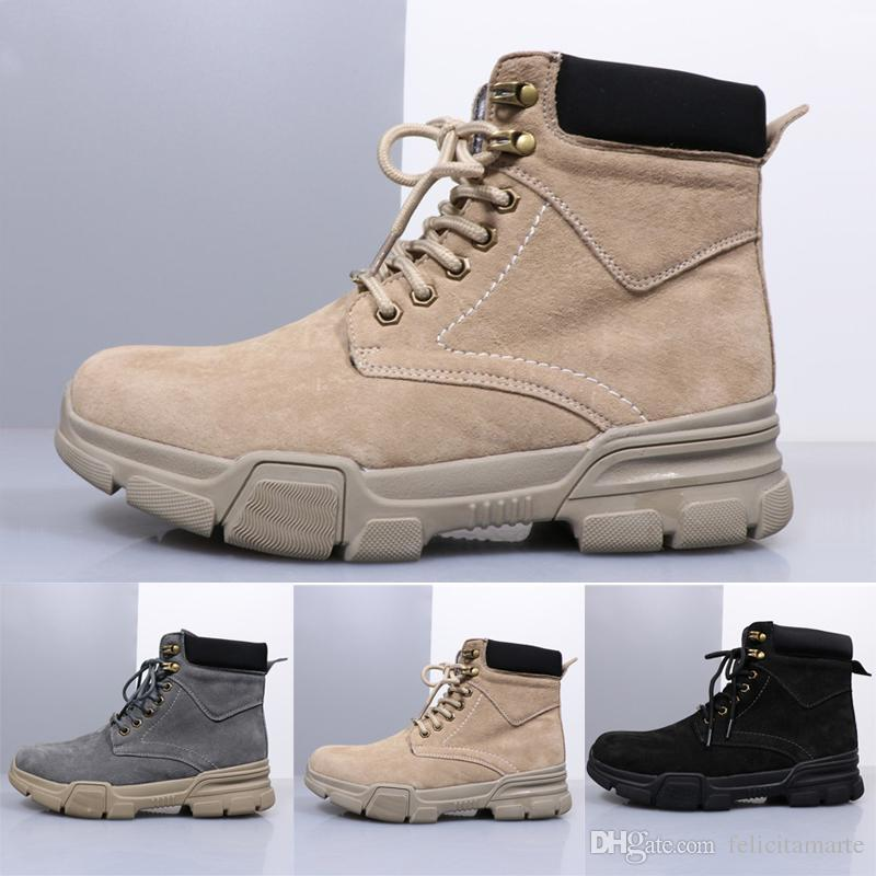 2018 New Designer Shoes Mens Women High Top Martin Boots Fashion Winter Outdoor Sports Shoes Genuine Leather Trainers Creamy White Grey Blac