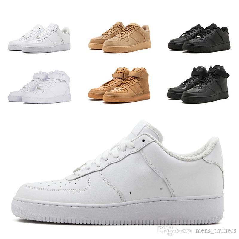 Compre Air Force 1 Diseñador Hombres Mujeres Low Cut One 1 Zapatos Para  Correr Clásico Mujer Blanco Trigo Negro Deportes Zapatos De Skate Para  Hombre ... 32c81a1f5dc25