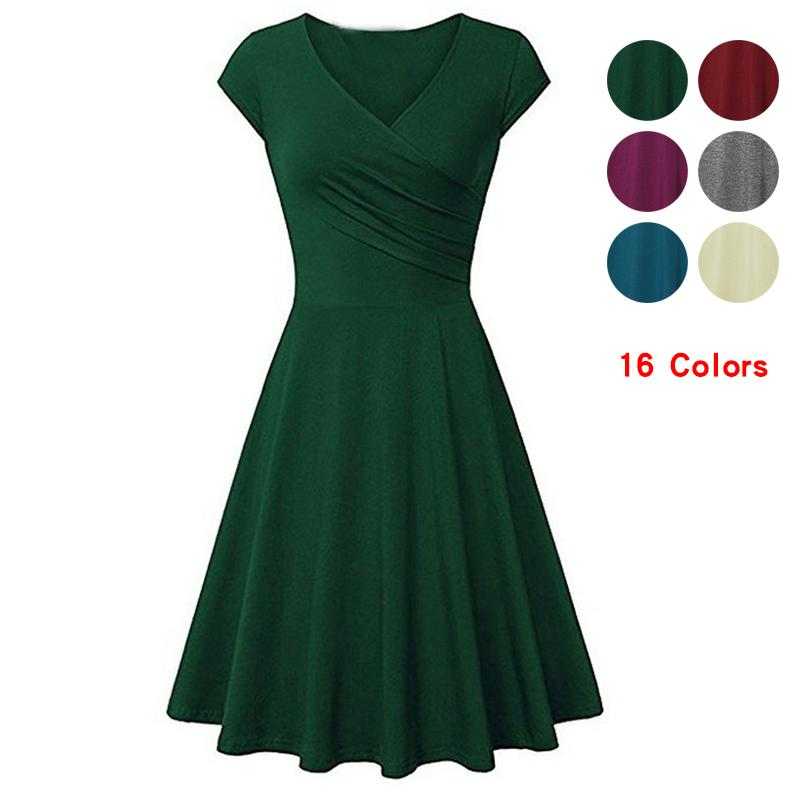 65e0bb55823 Summer Women Dresses 2019 V-neck Bodycon Casual Dress Elastic Cotton Sexy  Office Sundress Beach Holiday Plus Size Party Dresses Online with   39.43 Piece on ...