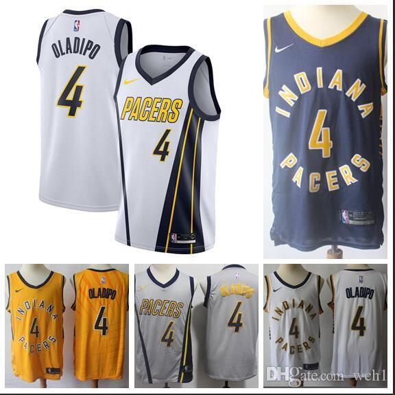 online retailer a4210 b1b47 Men's Indiana Victor Pacers 4 Oladipo White 2018/19 Swingman Jersey Earned  Edition