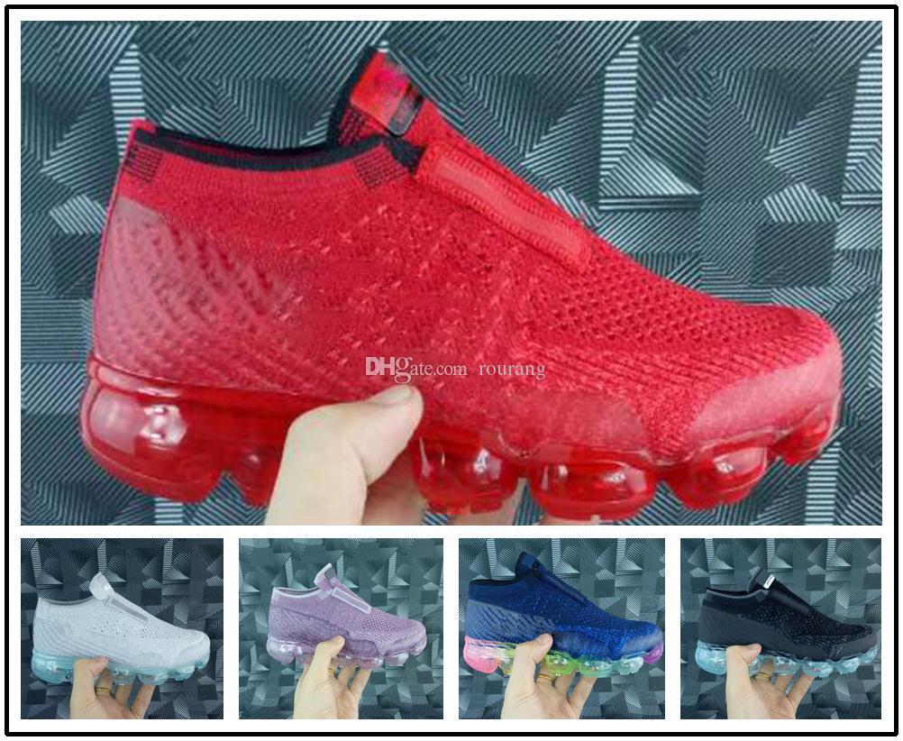 nike air max airmax vapormax Laceless 2019 платина Детские кроссовки дети кроссовки серый белый Радуга детская спортивная обувь девушки мальчики