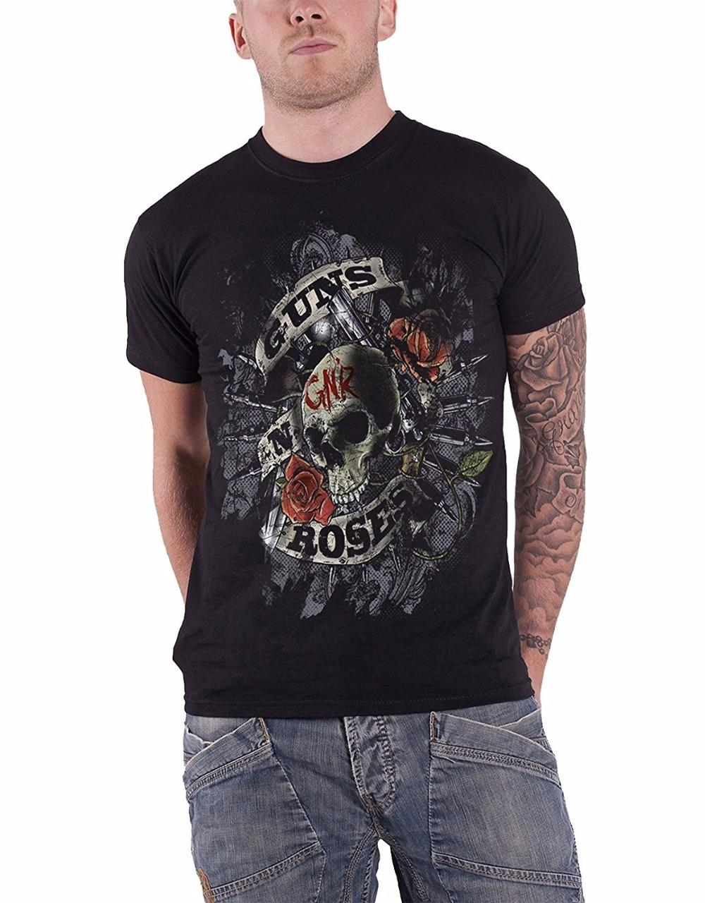 42fe1f40a Design Your Own Shirt Online Men's Guns N Roses Mens T Shirt Firepower  Distressed Black Cotton O - Neck Cotton Short Sleeve Shirts