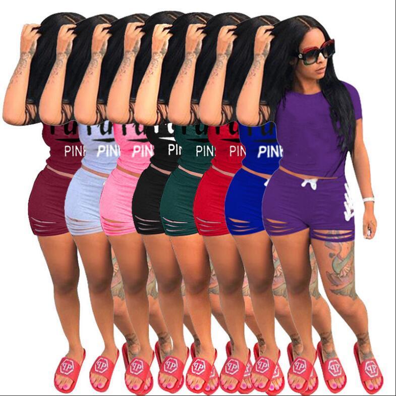 18587ac407067 Women Summer Victoria Shorts Tracksuit Pink Letter Women Outfit Secret  Short Sleeve T Shirt Tops Holes Shorts 2PCS Set Jogger Suit A2201