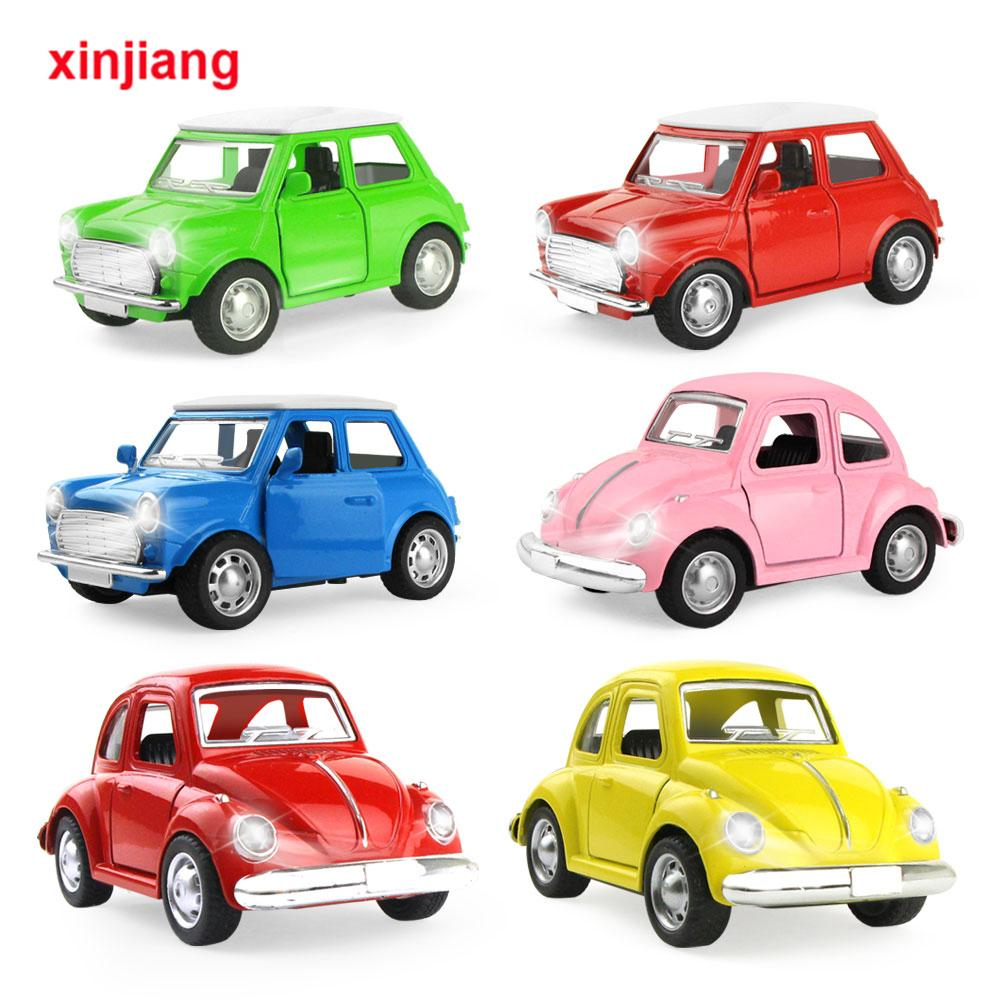 6 Types Mini Diecast Alloy Car Model Cute Vintage Sliding Car Toys Vehicle For Boys Early Educational Toys For Kids