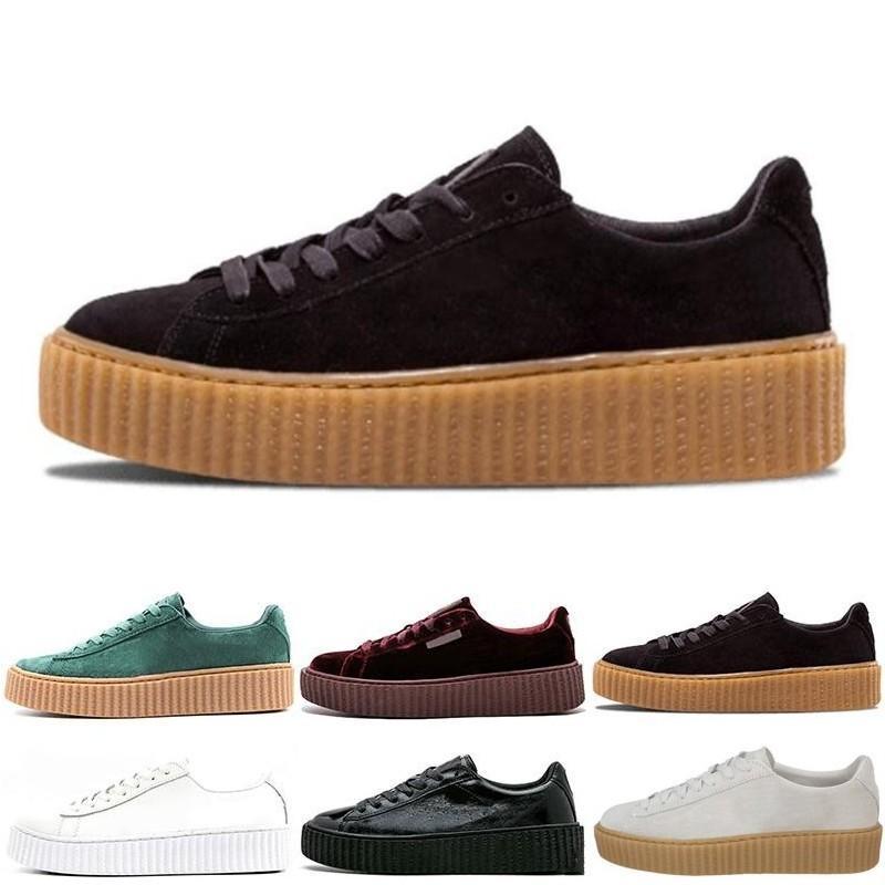 half off 13c84 84f32 2019 Rihanna Fenty Creeper PM Classic Basket Platform Casual Shoes Velvet  Cracked Leather Suede Men Women Fashion mens Designer Sneakers